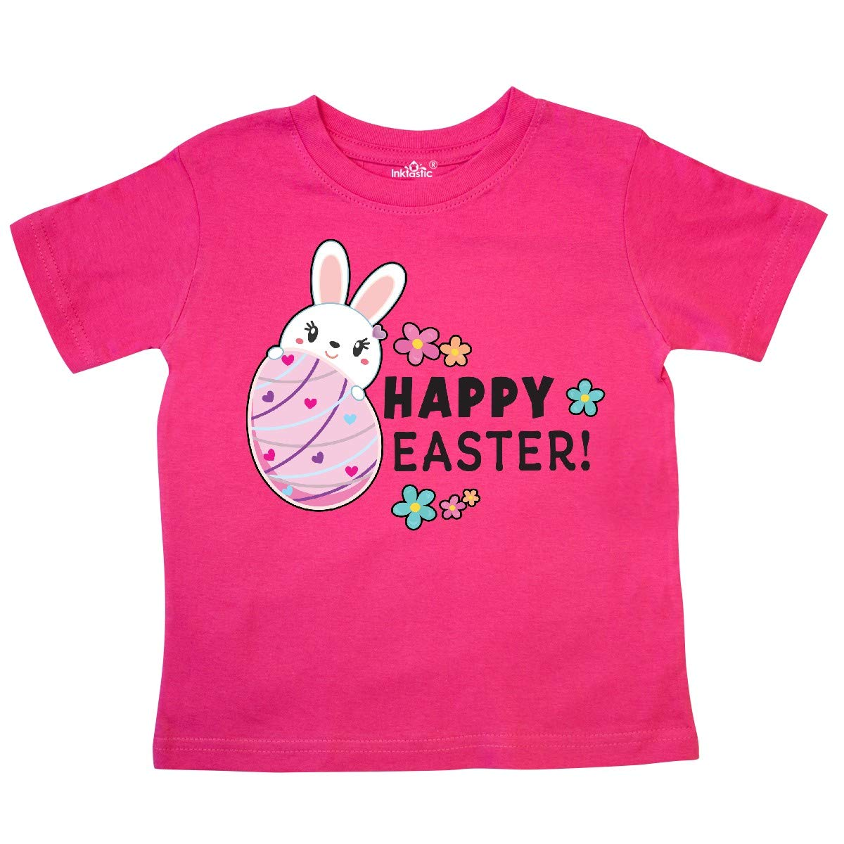 inktastic Happy Easter with Bunny Behind Egg Toddler T-Shirt