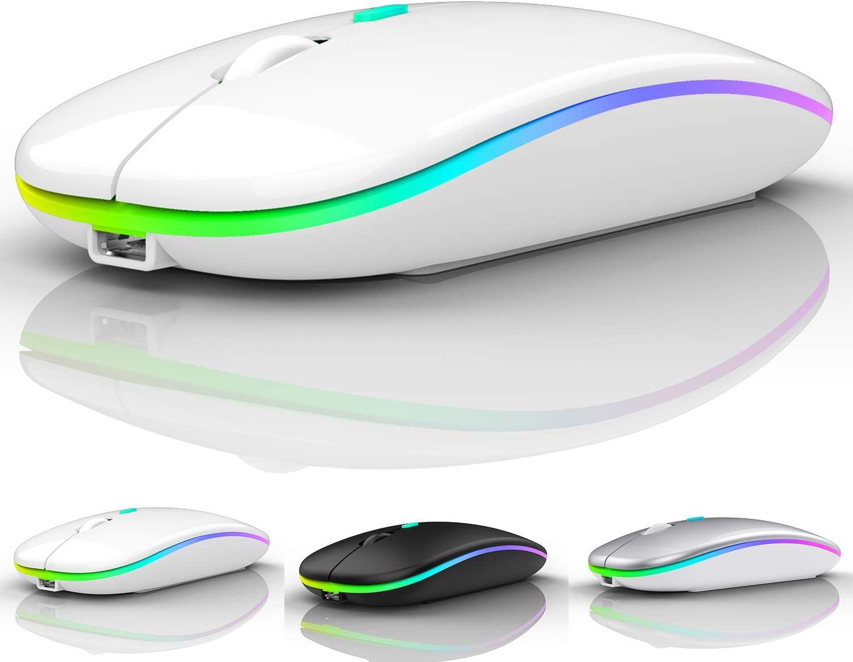 LED Bluetooth Wireless Mouse,Bluetooth Mouse for MacBook Pro,Bluetooth Mouse for MacBook Air,Rechargeable Wireless Mouse for MacBook, Laptop, Mac,ipad,ipad Pro (White)