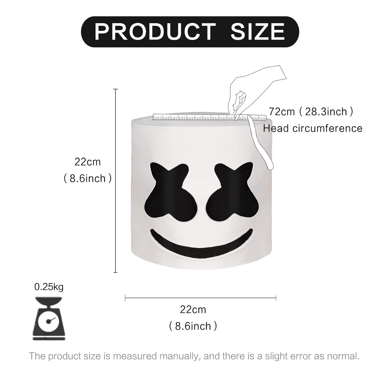 Marshmallowm DJ máscara Casco del Festival música Máscara la Mascarada del Novedad Látex de Goma máscara la Cabeza Completa.Molezu.