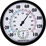 """PandaCoCo 10"""" Indoor Outdoor Weather Thermometer/Hygrometer for Patio, Wall Decorative, No Battery Needed"""