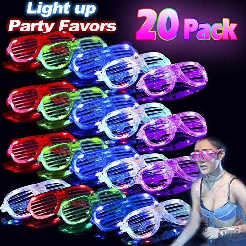 20 Pack Glow in The Dark LED Glasses, Bulk Light Up Toy Glasses, Neon Party Supplies Unisex Colorful LED Sunglasses Shutter Shade Glasses Birthday Gift Concert Rave Party Favors for Teens Adults Kids