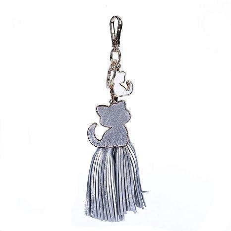 LIXIAQ1 Llavero con colgante de gato con flecos y cadena ...