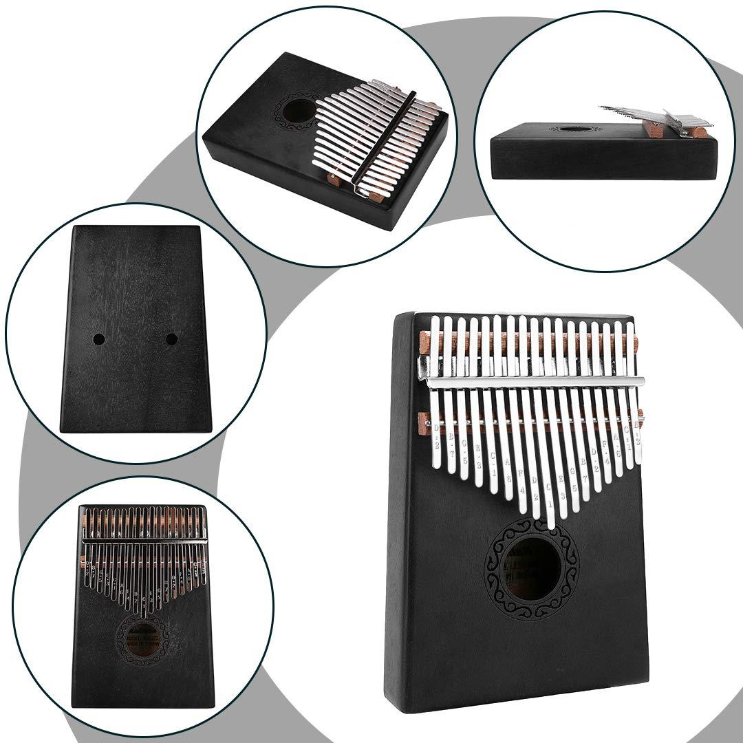 17 Keys Kalimba Thumb Piano, Mini Blue and Black Diy Kalimba 17 Key Thumb Kalimba Musical Instruments Solid Mahogany Wood Body Finger Piano Kalimba with Tune Hammer for Adults Kids Beginners(Black) by Tocawe (Image #7)