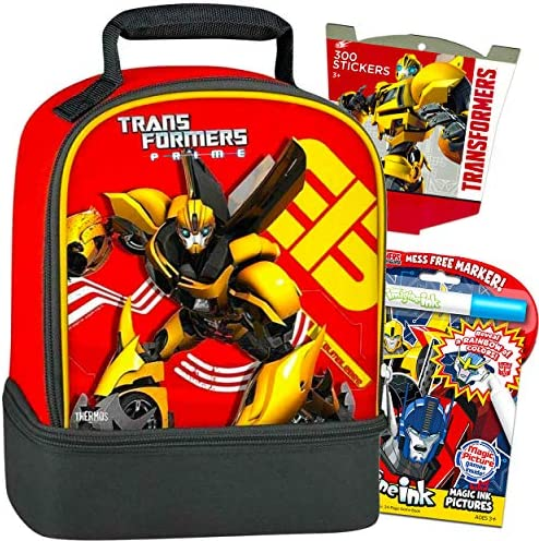 Transformers Bumblebee Lunch Box Travel Activity Set  Bumblebee Lunch BagMess Free Coloring Book and Stickers (Travel Activities for Boys Kids Toddlers).