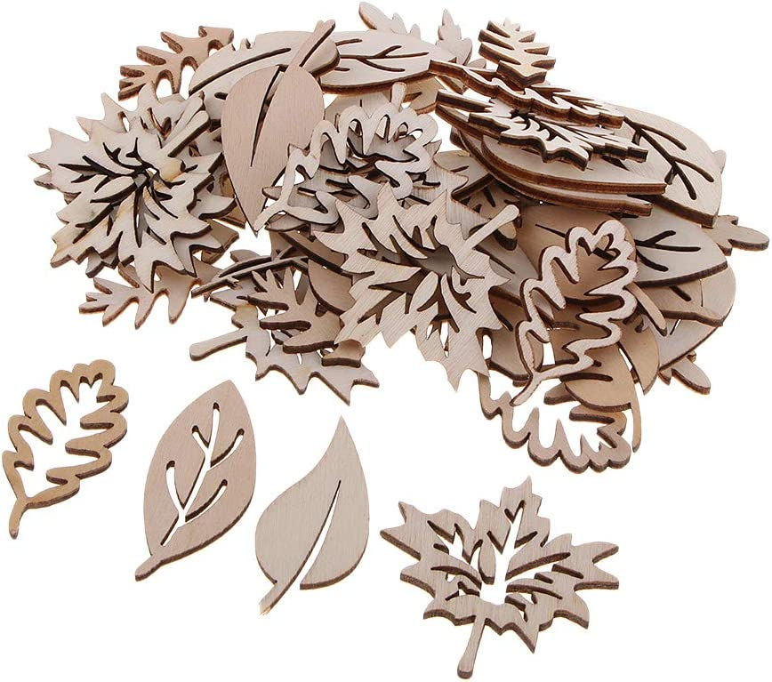 B Blesiya 150 Pieces Wooden Multi-Shapes Embellishments for Wooden Hanging Decoration DIY Scrapbooking Crafts