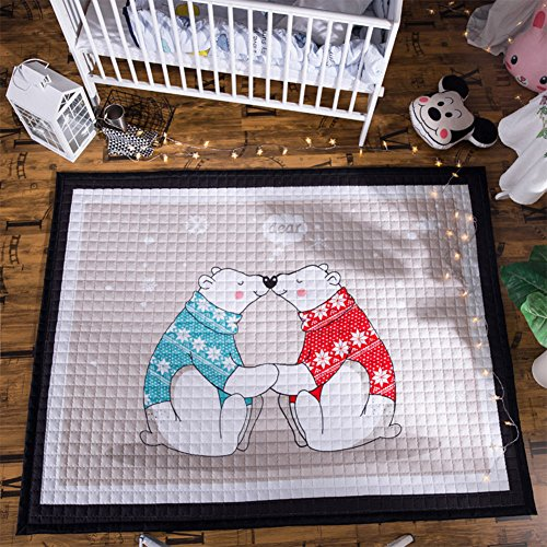 dream_home Gym Play Rug Bears - Playroom Mats Chic Carpets Adult Twin Size with Sides Kids Toddlers