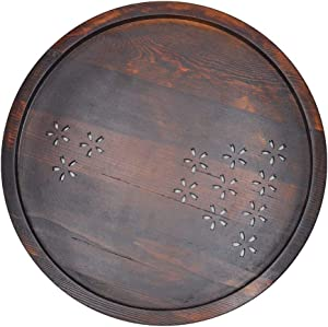 zhitao Wood Serving Tray Round Tea Tray Brown 12.5 inch Bed Tray Food Tray Breakfast Ottoman Rustic Tray