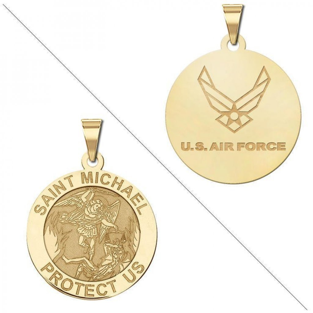 Saint Michael Doubledside AIR FORCE Religious Medal - 1 Inch Size of a Quarter - Solid 14K Yellow Gold