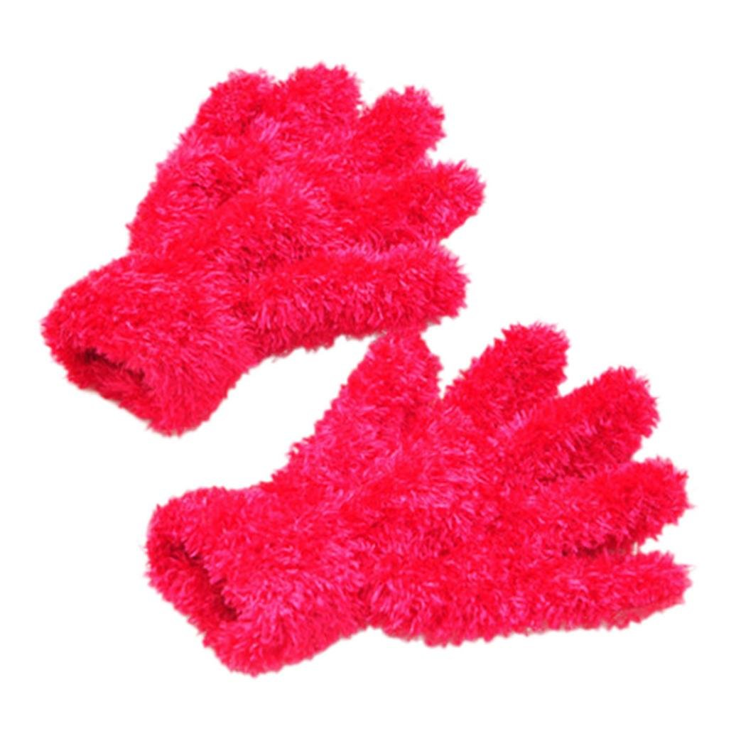Ecurson Girls Boys Winter Warm Fluffy Spft Comfy Cute Gloves