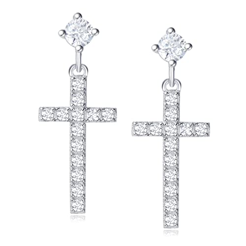b509d4af8 Image Unavailable. Image not available for. Color: Carleen 14K Gold Plated  Sterling Silver CZ Simulated Diamond Cross Stud Earrings ...