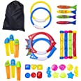 Rainbow Kingdom 32 PCS Pool Diving Toys with Underwater Swimming Diving Pool Toy Rings, Diving Sticks, Toypedo Bandits and Ma
