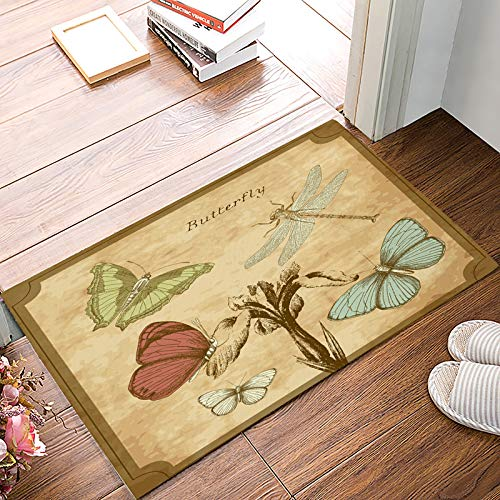Front Door Entrance Way Doormat Butterfly Dragonfly Postcard Pamphlet Door Mats Non Slip Rubber Backing Remove Shoes Rugs Machine Washable Low Profile Carpet 20