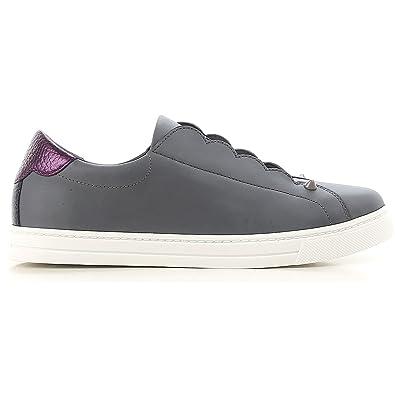 Fendi Damen 8E6592a16kf112y Grau Leder Slip On Sneakers IsE4Y