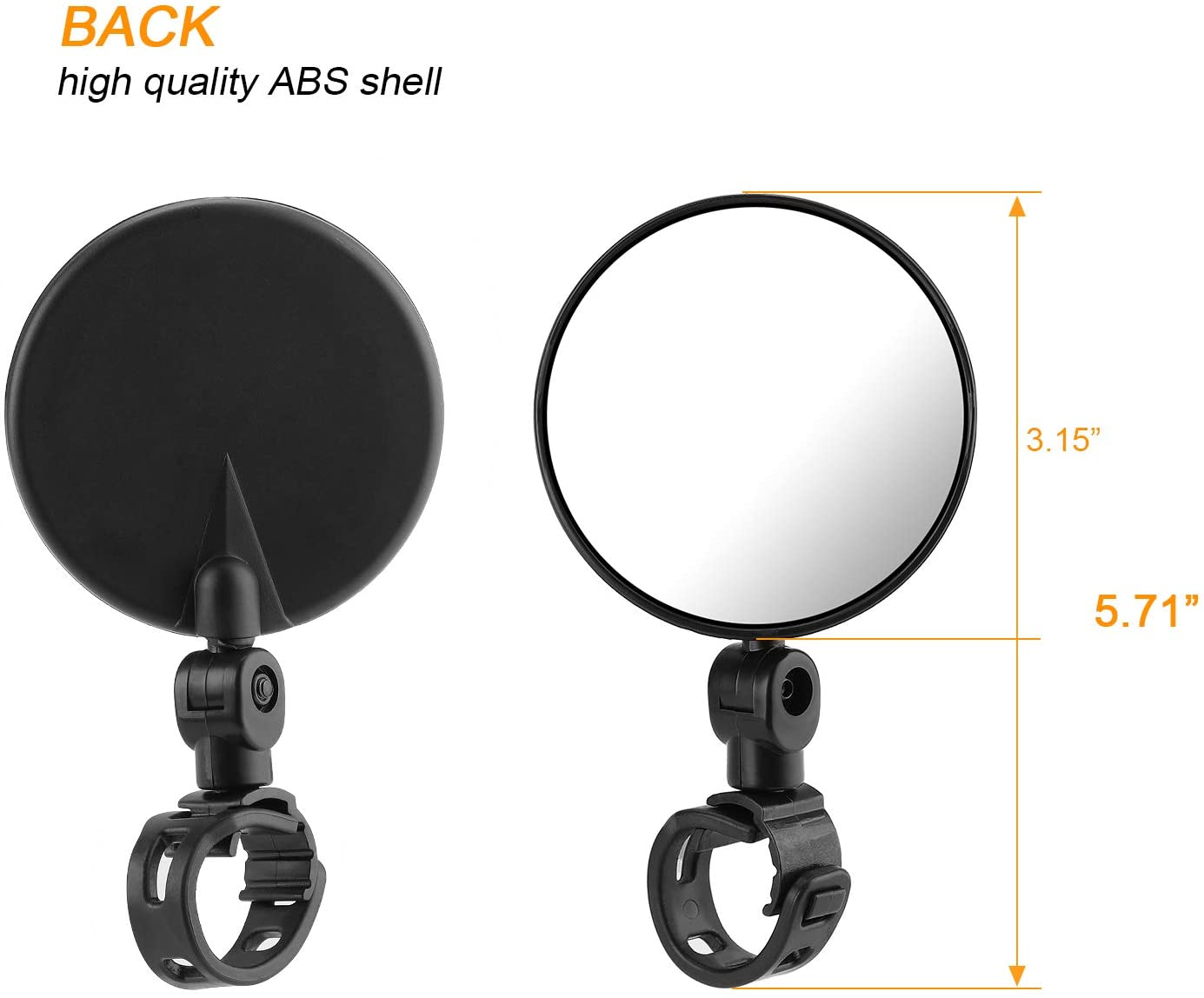 2pcs Bicycle Cycling Rear View Mirrors Adjustable Rotatable Handlebar Mounted Plastic Convex Mirror for Mountain Road Bike TAGVO Bike Mirrors