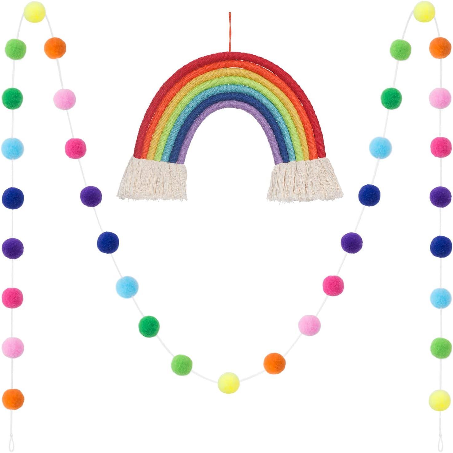 Mkono 2 Pack Christmas Tassel Garland Pom Pom Ball String Banner Macrame Rainbow Wall Hanging Decorative Colored for Boho Home Decor, Xmas Tree Decorations, Party, Baby Shower, Nursey Dorm Room