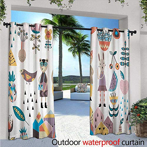 Orlando Hand Bears - BlountDecor Cartoon Outdoor Blackout Curtains Hand Drawn Fox Bunny and Bear with Human Clothing Scandinavian Style Cartoon Motifs Outdoor Privacy Porch Curtains W108 x L84 Multicolor