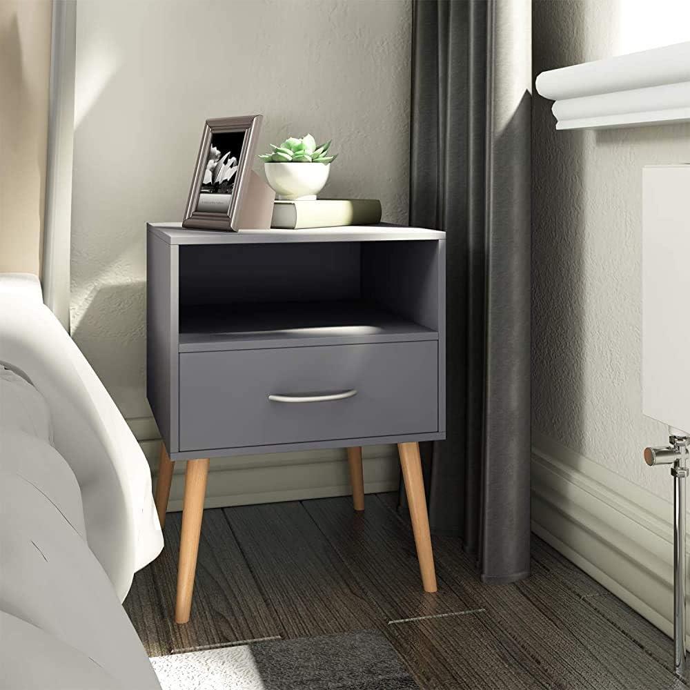 Simplicit/é moderne et /él/égant gris deux tables de chevet avec tiroirs de rangement appropri/és pour une chambre salon 42x42x56cm chambre,Grey