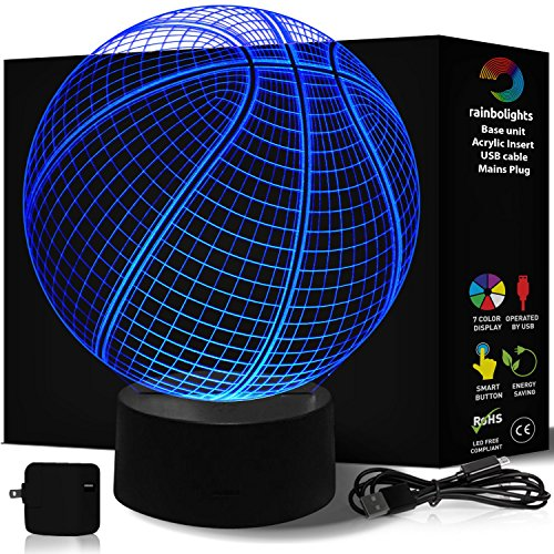 Basketball Lamp 7 Color- 3D Illusion Night Light- A Great Basketball Gift for Boys -LED Does Not Get Hot- Comes with Mains Plug USB cable- Basketball Light Up- Larger size 218mm x 188 By (Hoop Light Bar)