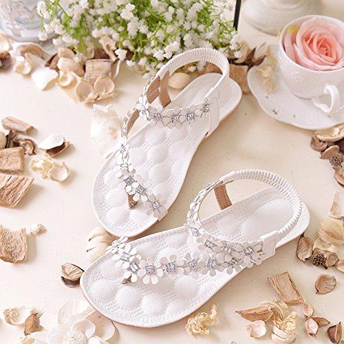 2111ded67d81 Zeagoo Women Bohemia Flower Beads Flip-flop Shoes Flat Sandals (US ...