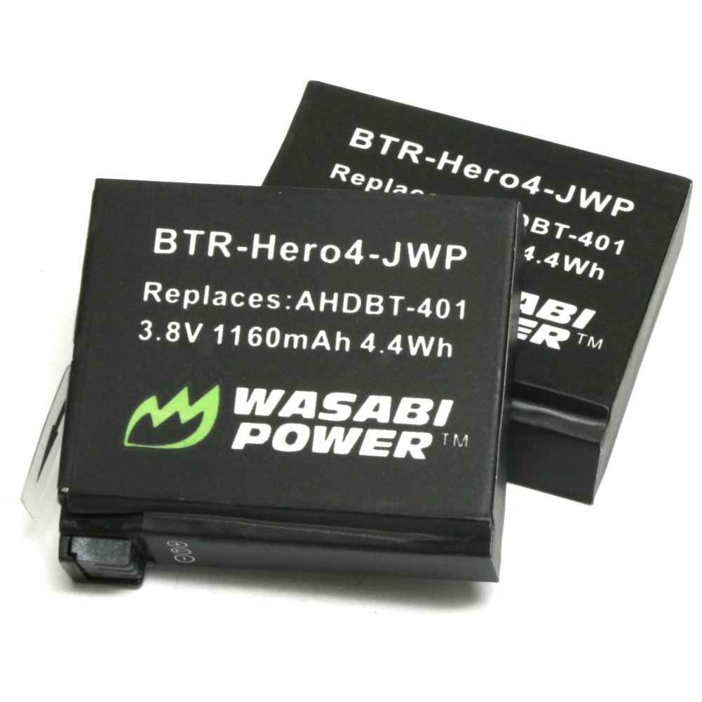 Wasabi Power Battery for GoPro HERO4 and GoPro AHDBT-401 (2-Pack)