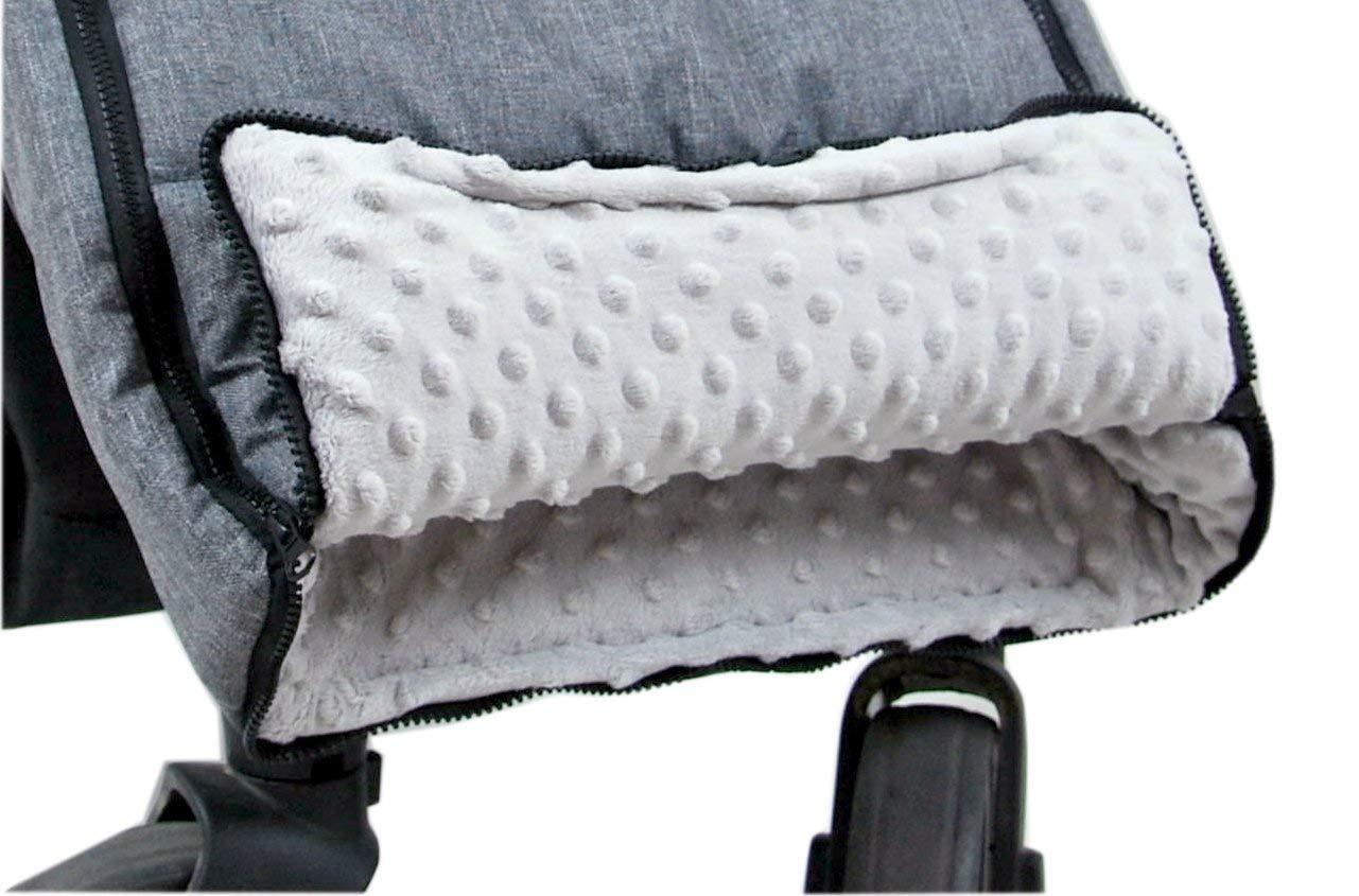 Babylux Fußsack 90cm Minky Kinderwagen Buggy Babyschale Thermo Muff Handmuff Winterfußsack Grau Minky Grau Baby