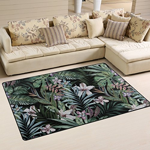 Naanle Jungle Leaves Area Rug 3'x5', Tropical Floral Print Polyester Area Rug Mat for Living Dining Dorm Room Bedroom Home - Leaf Print Rug