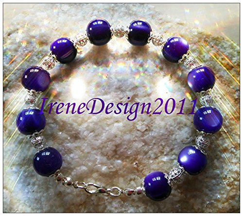Purple Cat Eye & Silver Bracelet