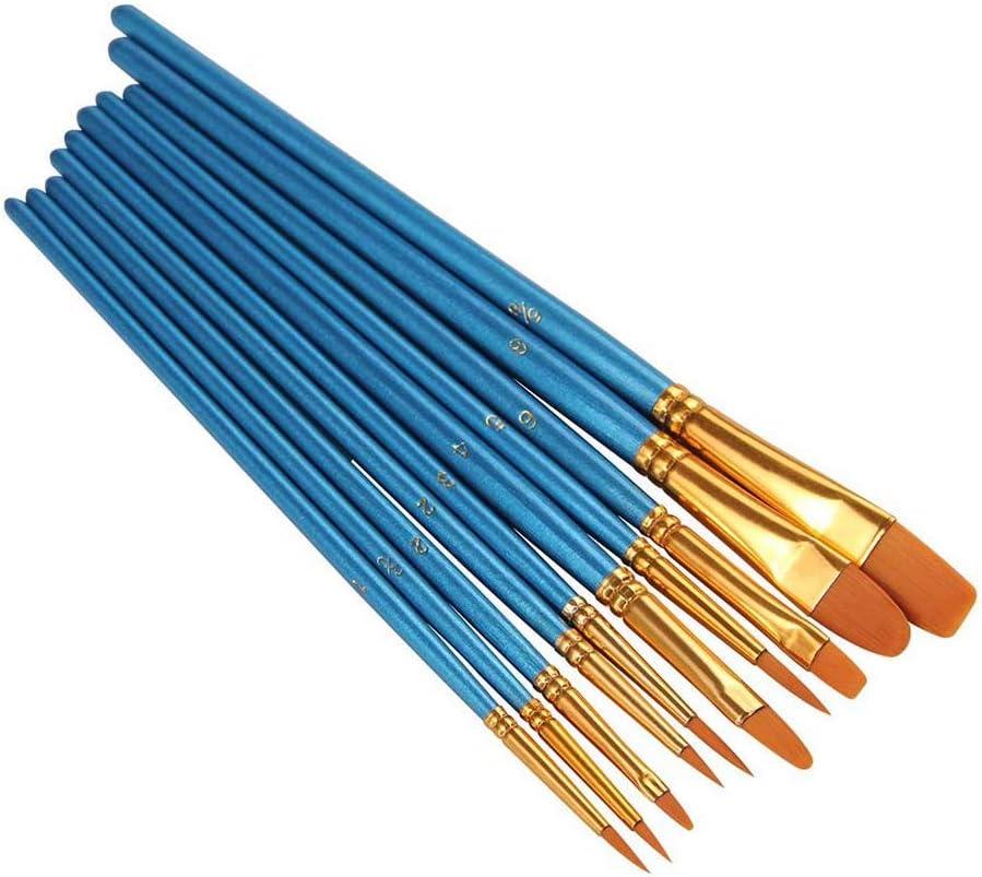 Zerama 10pcs pinceaux Aquarelle Set Peinture Acrylique Nylon Art Cheveux Peinture Dessin Kit Brosses