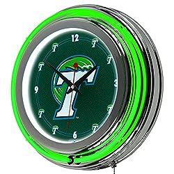 NCAA Tulane University Chrome Double Ring Neon Clock, 14