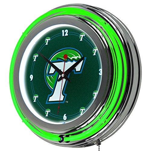 (NCAA Tulane University Chrome Double Ring Neon Clock, 14