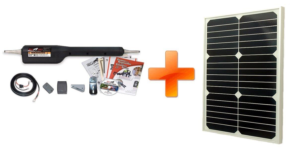 Mighty Mule MM360-SINGLE Gate-Solar Package with Solar Panel (20 Watt Panel)