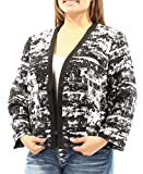 Nine West Women's Plus-Size Printed Flyaway Jacket, Black/Ivory, 16W