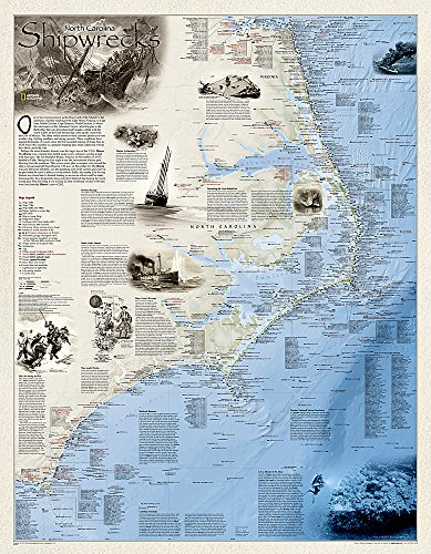 National Geographic: Shipwrecks of the Outer Banks Wall Map (28 x 36 inches) (National Geographic Reference Map) by National Geographic Maps - Reference
