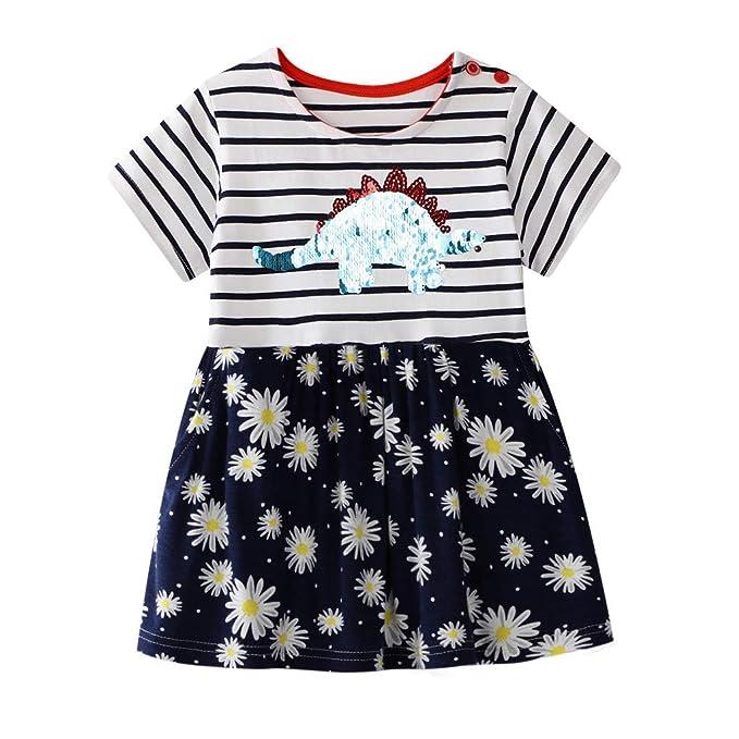 WUSIKY Baby Mädchen Sommerkleid, Kleinkind Kind Baby Mädchen Gestreifte Floral Dinosaurier Bling Druck Princess Kleid Minikle