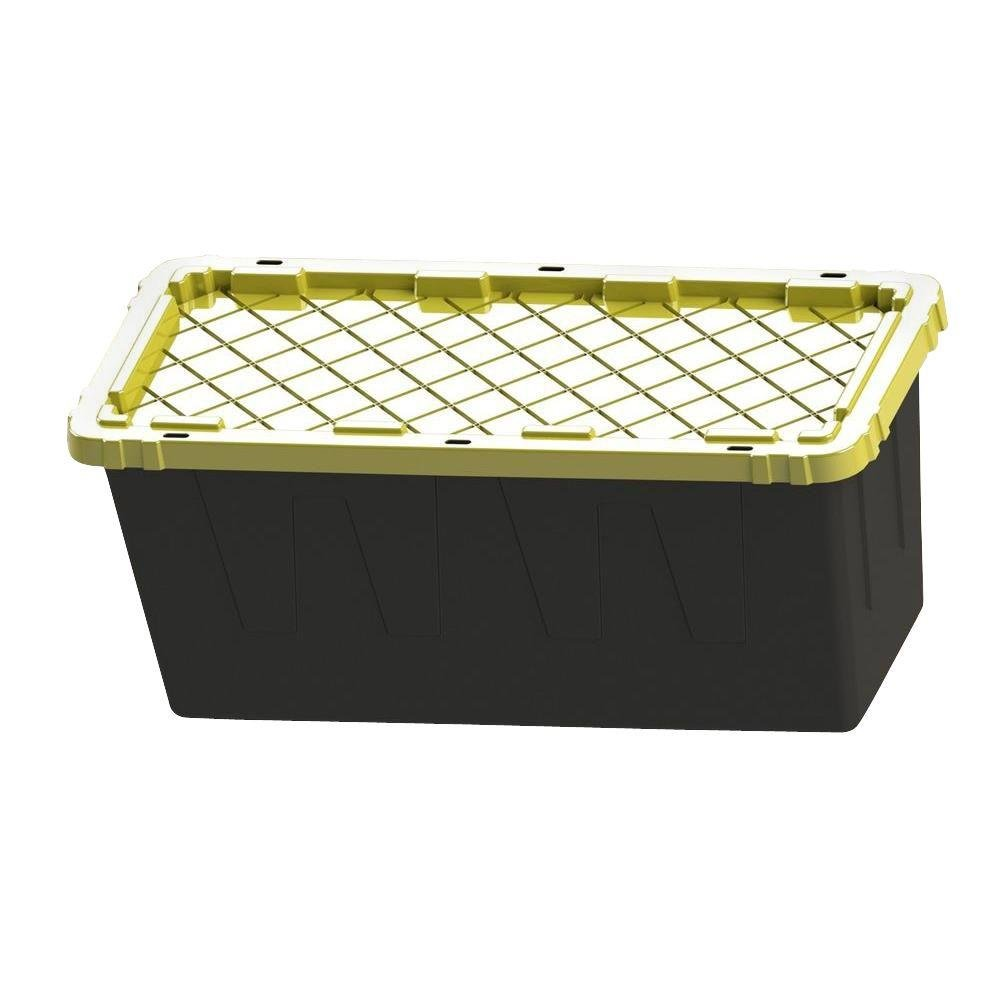 55 Gal. Tough Polypropylene Plastic Storage Tote in Black (Pack of 4)
