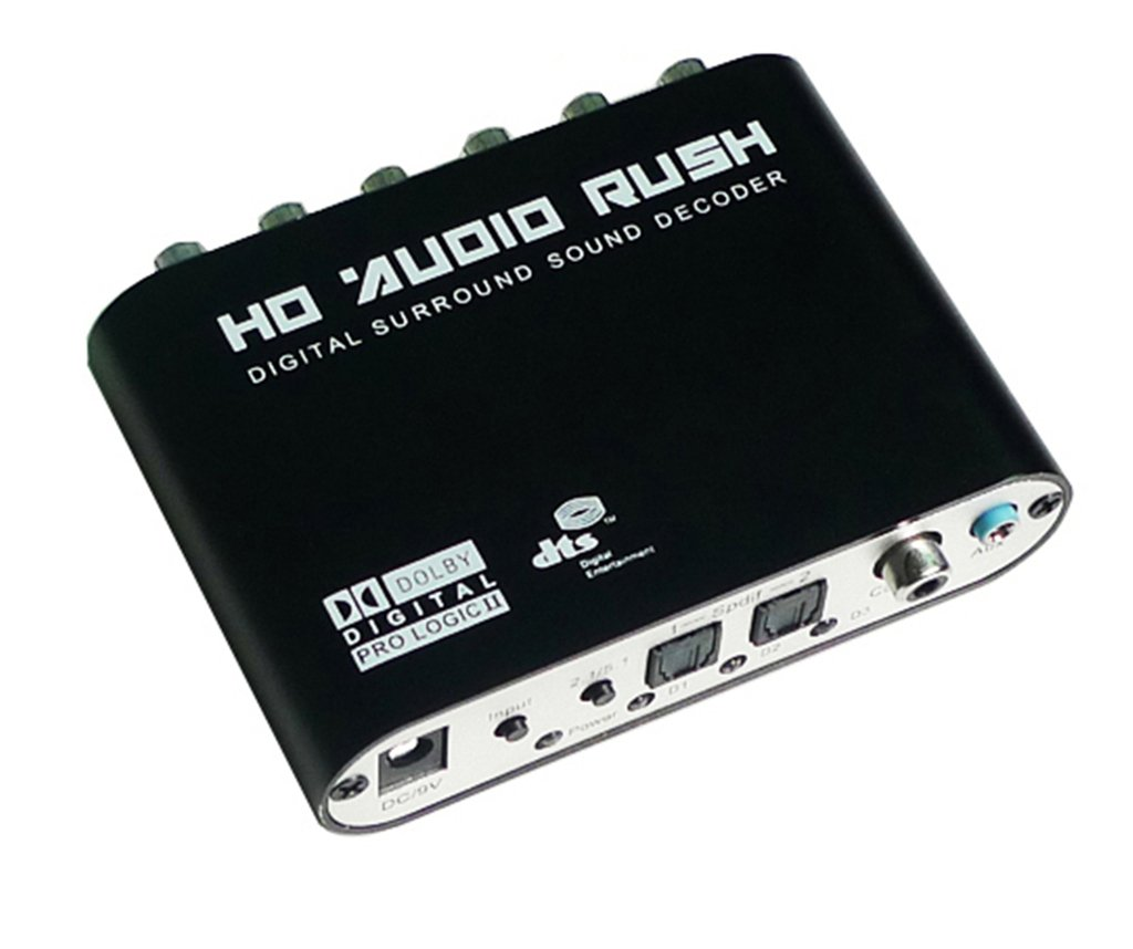 Luzan 5.1 Audio Rush Digital Sound Decoder Converter Optical SPDIF Coaxial Dolby AC3 DTS stereo(R/L) to 5.1CH Analog Audio (6RCA Output)