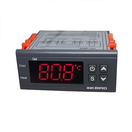 Inkbird ITC-2000 Termostato Digital Pantalla LCD y 2 Relés, Control de Calefacción o Refrigeración y Conexión Dispositivo de Alarma con Sonda 220v para ...