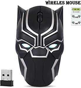 Cool Wireless Mouse Iron Man Black Panther Star Lord Ant Man Tree Man Gaming Mice with USB Unifying Receiver 1200 DPI for PC and Laptops (Black Panther)