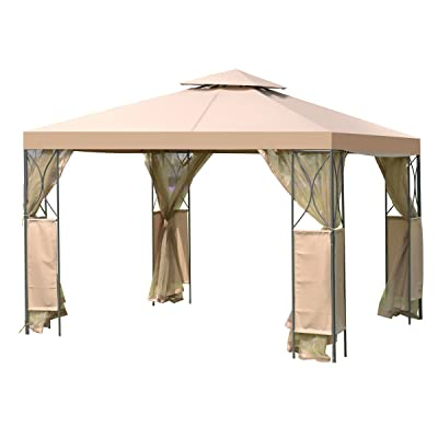 Tangkula 10'x10' 2 Tier Fully Enclosed Garden Gazebo, Brown : Garden & Outdoor