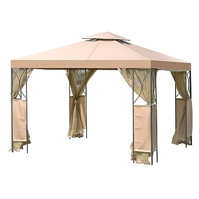 Tangkula 10'x10' 2 Tier Fully Enclosed Garden Gazebo, Brown : Garden & Outdoor