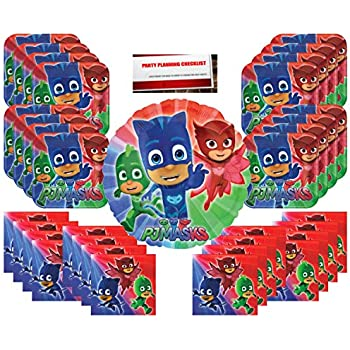 PJ Masks Party Supplies Bundle Pack for 16 (Bonus 17 Inch Balloon Plus Party Planning Checklist by Mikes Super Store)