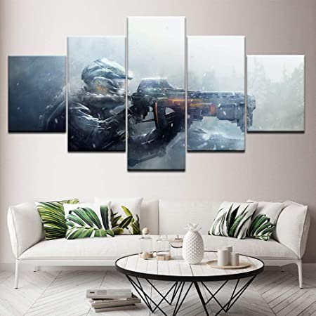 adgkitb canvas Pintura de Lienzo Gun Gaming 5 Piezas Wall Art ...