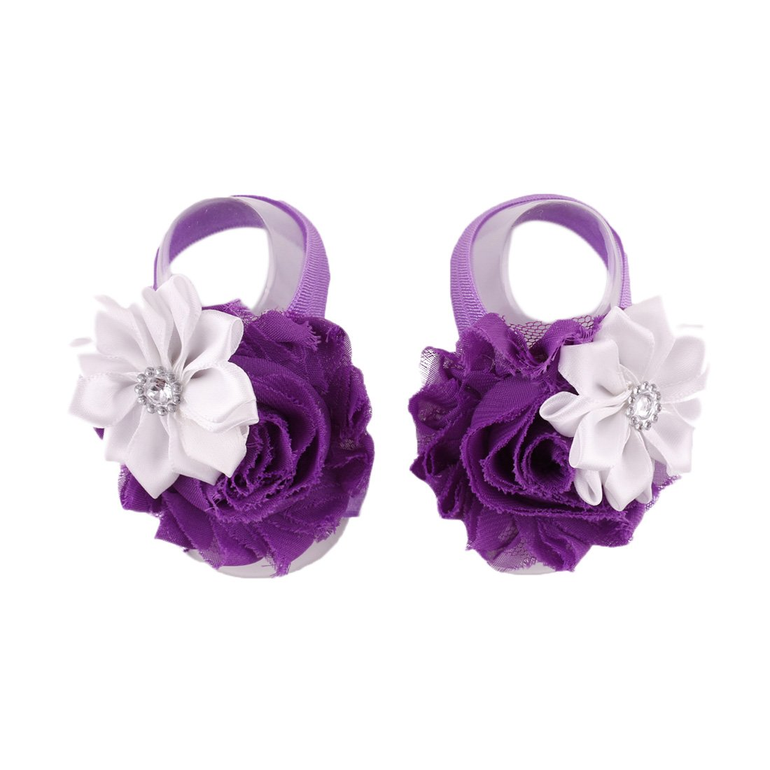 Voberry Baby Infant Girls Barefoots Sandals Flower Bow Foot Flower
