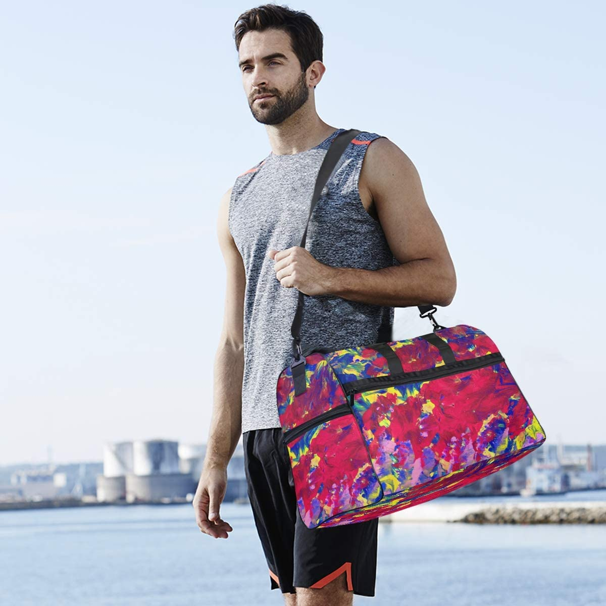 FAJRO Gym Bag Travel Duffel Express Weekender Bag Artists Palette Carry On Luggage with Shoe Pouch