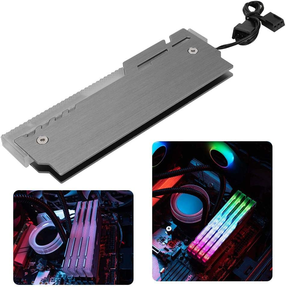 Memory RAM Case with Illusion Light RAM Heat Sink Aluminum-Magnesium Alloy Case Compatible with DDR3//DD4 4 Pcs RAM Case