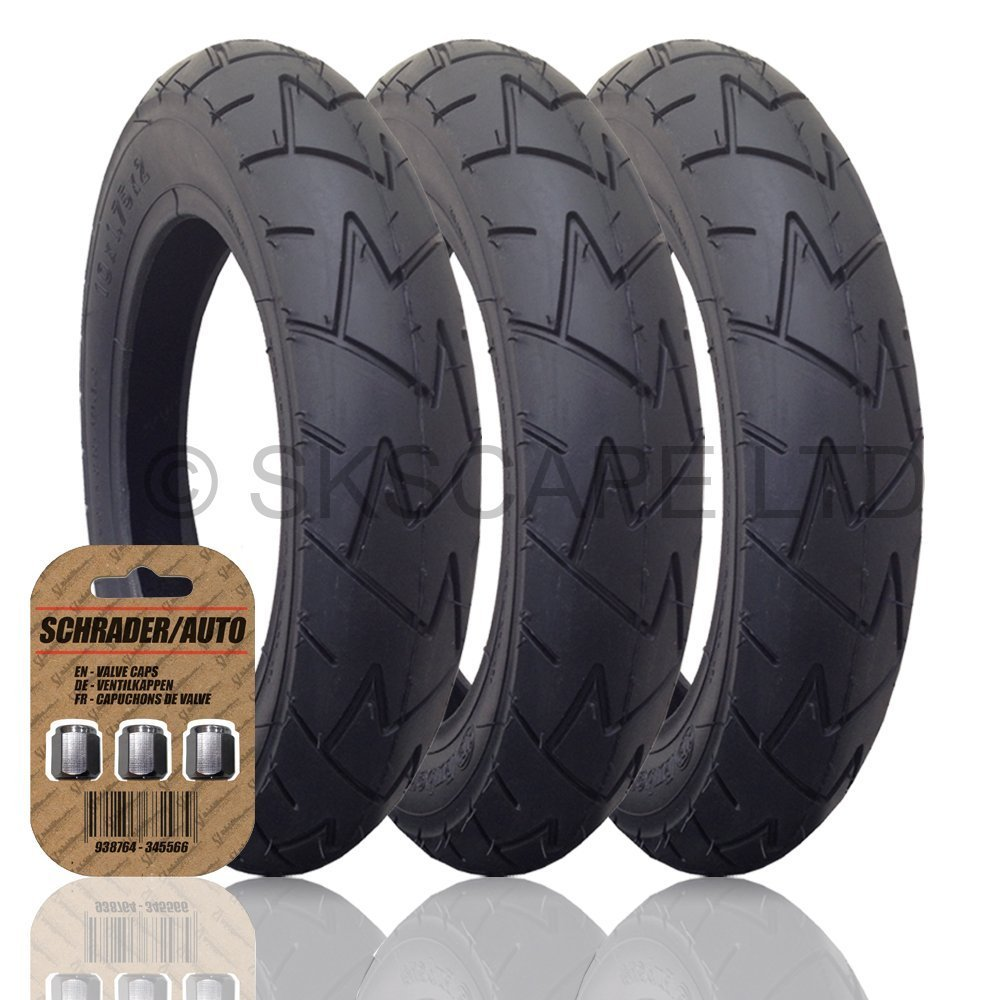 3 x MOUNTAIN BUGGY PLUS ONE (+ONE) Suitable Stroller / Push Chair / Buggy Tyres to fit - 12 1/2 x 1.75 - 2 1/4 (Black) Super Grippy & Fast Rolling + FREE Shipping + FREE Upgraded Skyscape Metal Valve Caps (Worth £4.99)