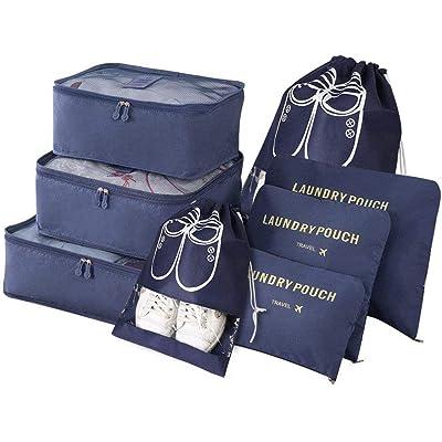 Vicloon Organizador de Equipaje,8 en 1 Set de Organizadores de Viajes, Impermeable Organizador de Maleta Bolsa Incluir 3 Cubos de Embalaje,3 Bolsos de la Compresión y 2 Bolsas de Zapatos (Azul Oscuro)