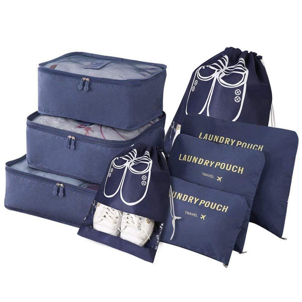 Vicloon Organizador de Equipaje,8 en 1 Set de Organizadores de Viajes, Impermeable Organizador de Maleta Bolsa Incluir 3 Cubos de Embalaje,3 Bolsos de la Compresión y 2 Bolsas de Zapatos (Azul