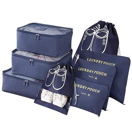Vicloon 8-en-1 Set de Organiseurs de Bagage pour Voyage,Différents Tailles des Cubes Étanche Sacs de Voyage Rangement,Organisateurs Valises en Nylon 3 Cubes + 3 Sacs de Voyage+2 sac à chaussures(Bleu