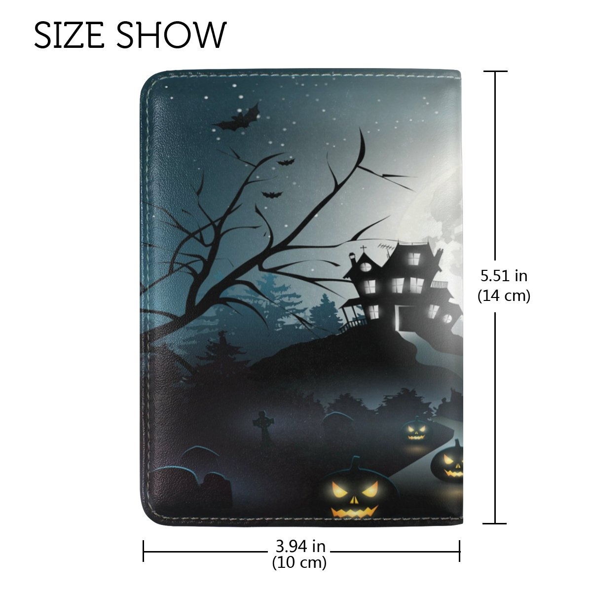 ALAZA Halloween Night Moon Castle Bat Leather Passport Holder Cover Case Travel One Pocket